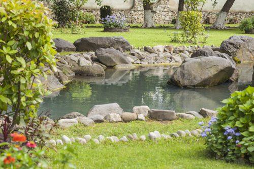 Landscaped garden, artificial lake, pond
